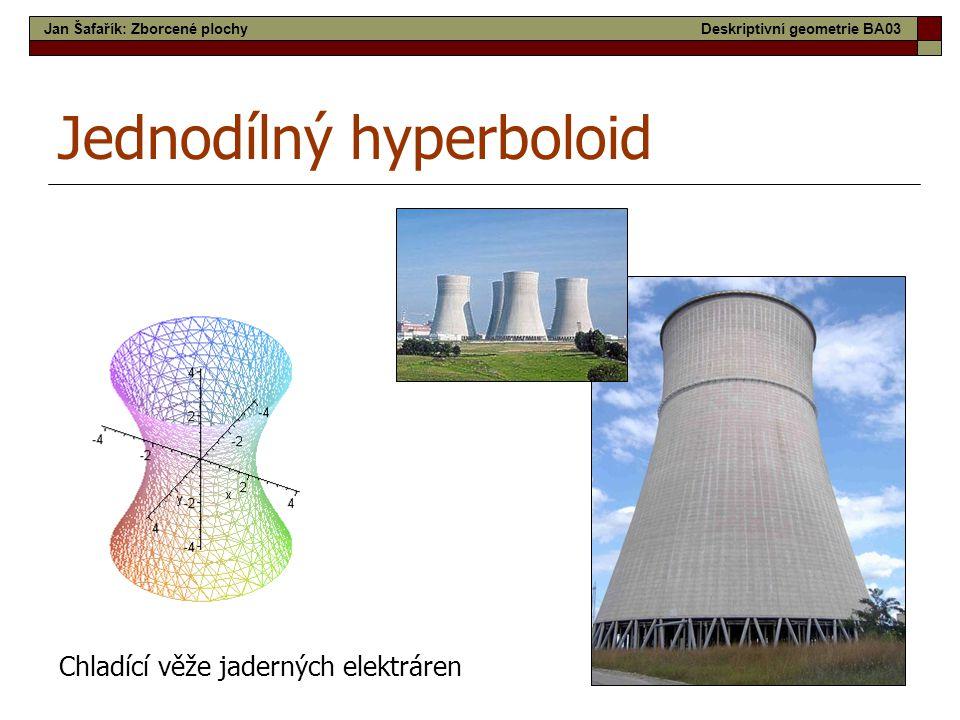 20 Jednodílný hyperboloid Chladící věže jaderných elektráren Jan Šafařík: Zborcené plochyDeskriptivní geometrie BA03