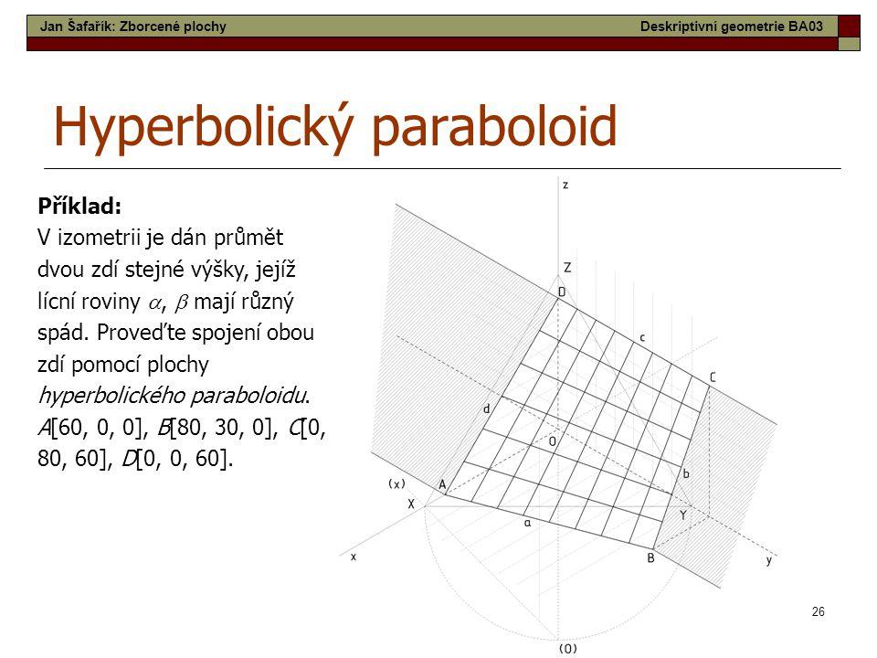 26 Hyperbolický paraboloid Příklad: V izometrii je dán průmět dvou zdí stejné výšky, jejíž lícní roviny ,  mají různý spád. Proveďte spojení obou zd