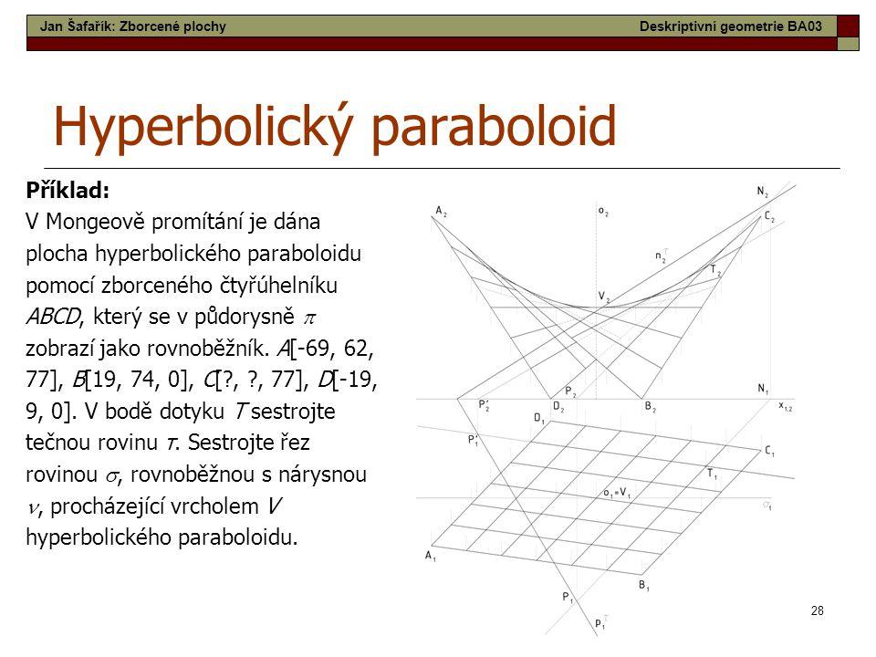 28 Hyperbolický paraboloid Příklad: V Mongeově promítání je dána plocha hyperbolického paraboloidu pomocí zborceného čtyřúhelníku ABCD, který se v půd