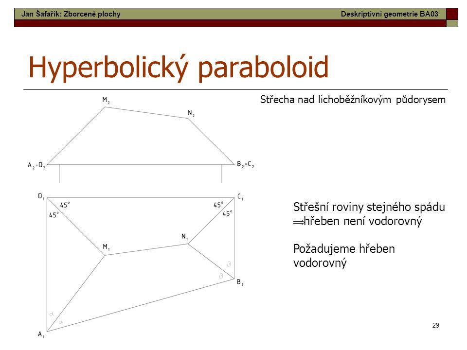 29 Hyperbolický paraboloid Střecha nad lichoběžníkovým půdorysem Střešní roviny stejného spádu  hřeben není vodorovný Požadujeme hřeben vodorovný Jan