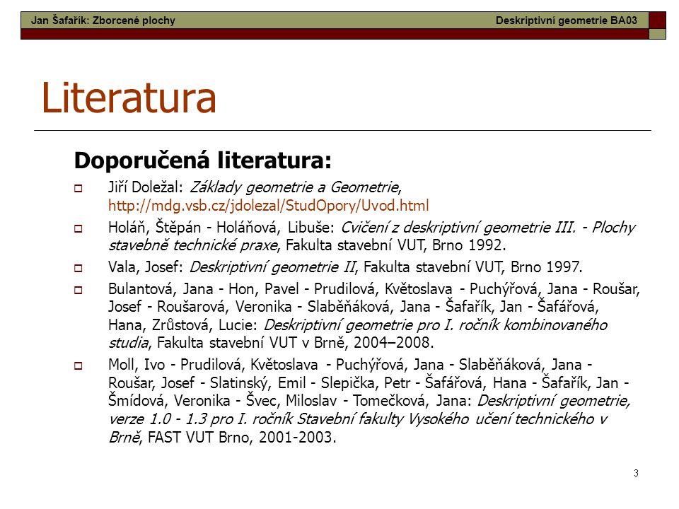 3 Literatura Doporučená literatura: Jan Šafařík: Zborcené plochyDeskriptivní geometrie BA03  Jiří Doležal: Základy geometrie a Geometrie, http://mdg.