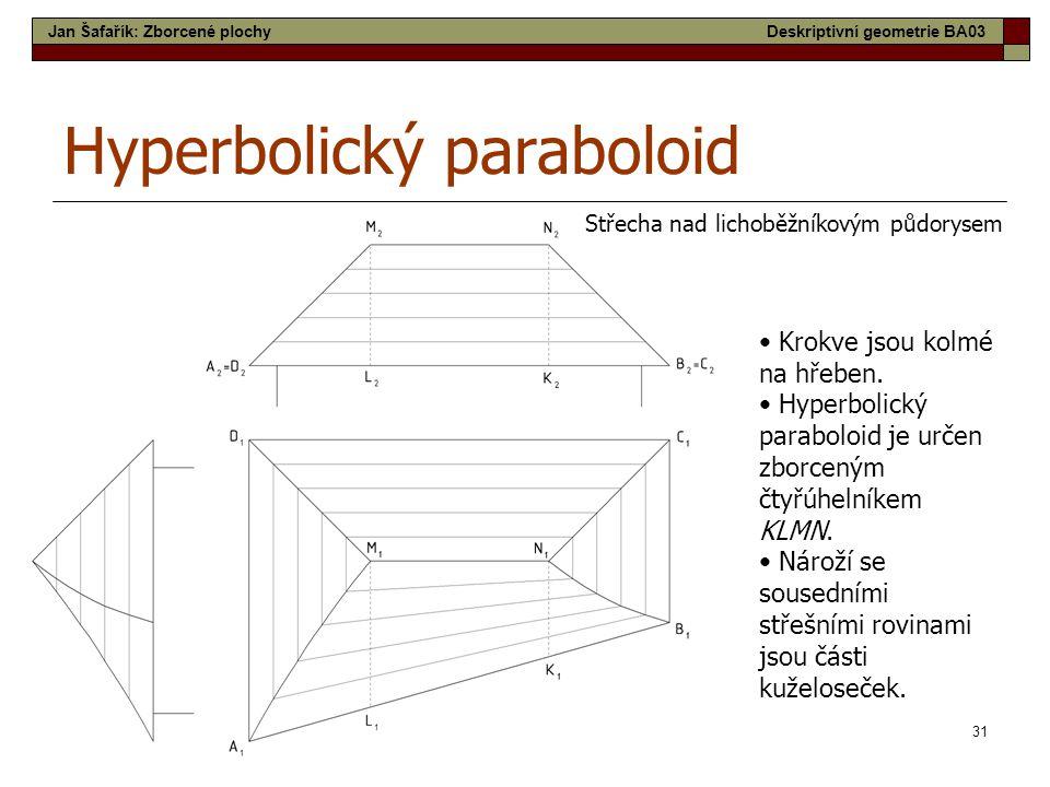 31 Hyperbolický paraboloid Střecha nad lichoběžníkovým půdorysem • Krokve jsou kolmé na hřeben. • Hyperbolický paraboloid je určen zborceným čtyřúheln