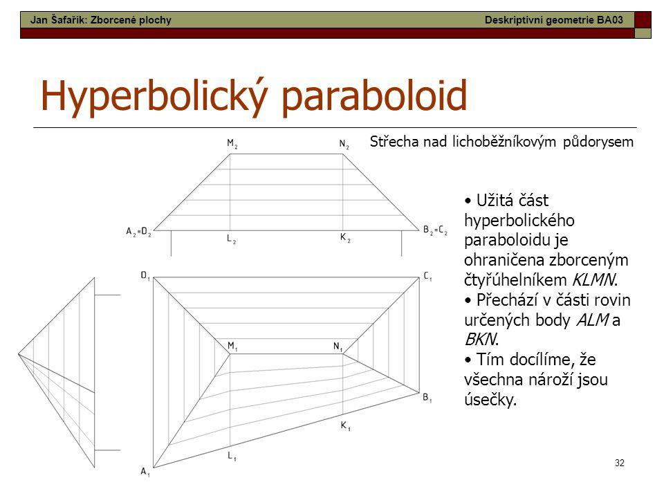 32 Hyperbolický paraboloid Střecha nad lichoběžníkovým půdorysem • Užitá část hyperbolického paraboloidu je ohraničena zborceným čtyřúhelníkem KLMN. •