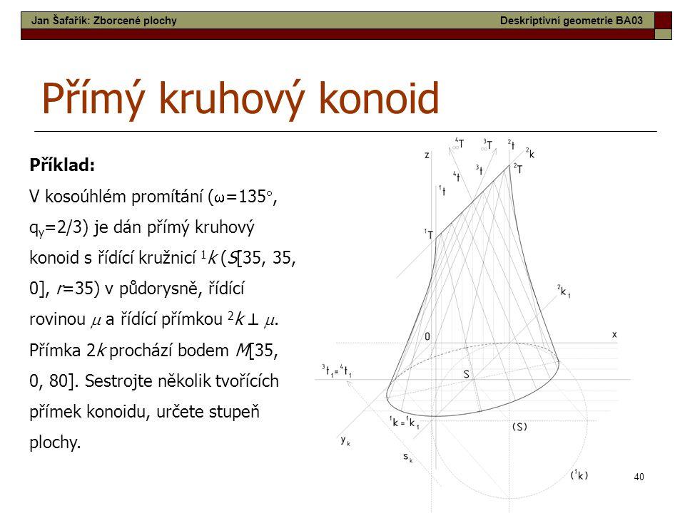 40 Přímý kruhový konoid Příklad: V kosoúhlém promítání (  =135 , q y =2/3) je dán přímý kruhový konoid s řídící kružnicí 1 k (S[35, 35, 0], r=35) v