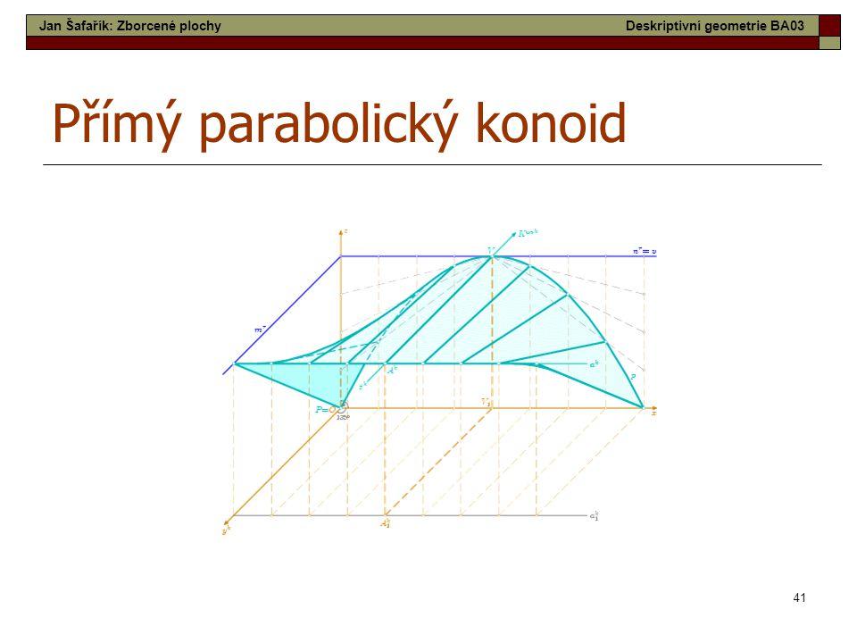 41 Přímý parabolický konoid Jan Šafařík: Zborcené plochyDeskriptivní geometrie BA03