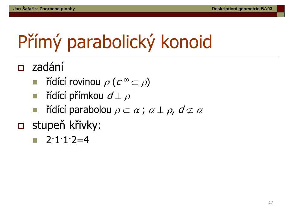 42 Přímý parabolický konoid  zadání  řídící rovinou  (c ∞   )  řídící přímkou d    řídící parabolou    ;   , d    stupeň křivky:  2