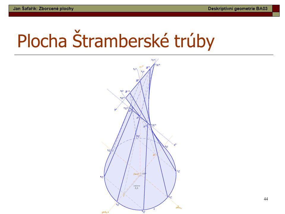 44 Plocha Štramberské trúby Jan Šafařík: Zborcené plochyDeskriptivní geometrie BA03