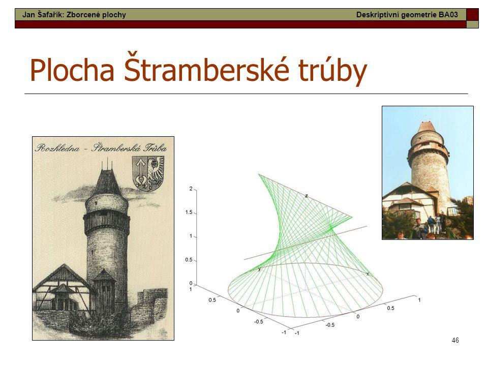 46 Plocha Štramberské trúby Jan Šafařík: Zborcené plochyDeskriptivní geometrie BA03
