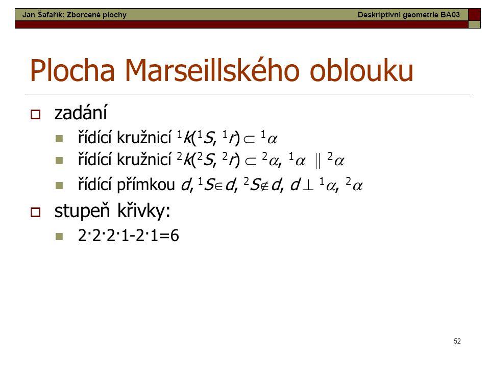 52 Plocha Marseillského oblouku  zadání  řídící kružnicí 1 k( 1 S, 1 r)  1   řídící kružnicí 2 k( 2 S, 2 r)  2 , 1    2   řídící přímkou d