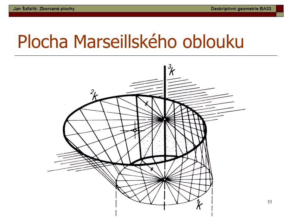 53 Plocha Marseillského oblouku Jan Šafařík: Zborcené plochyDeskriptivní geometrie BA03