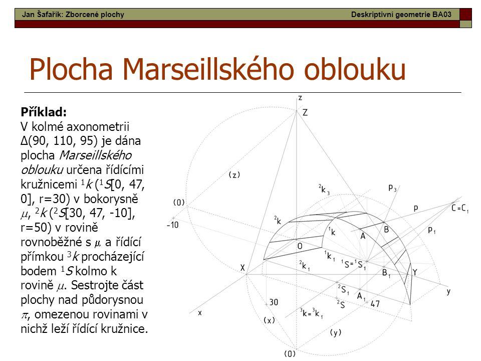 54 Plocha Marseillského oblouku Příklad: V kolmé axonometrii Δ(90, 110, 95) je dána plocha Marseillského oblouku určena řídícími kružnicemi 1 k ( 1 S[