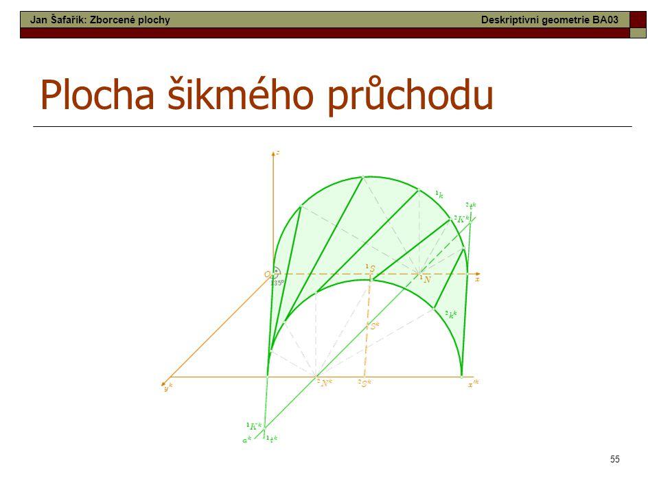 55 Plocha šikmého průchodu Jan Šafařík: Zborcené plochyDeskriptivní geometrie BA03