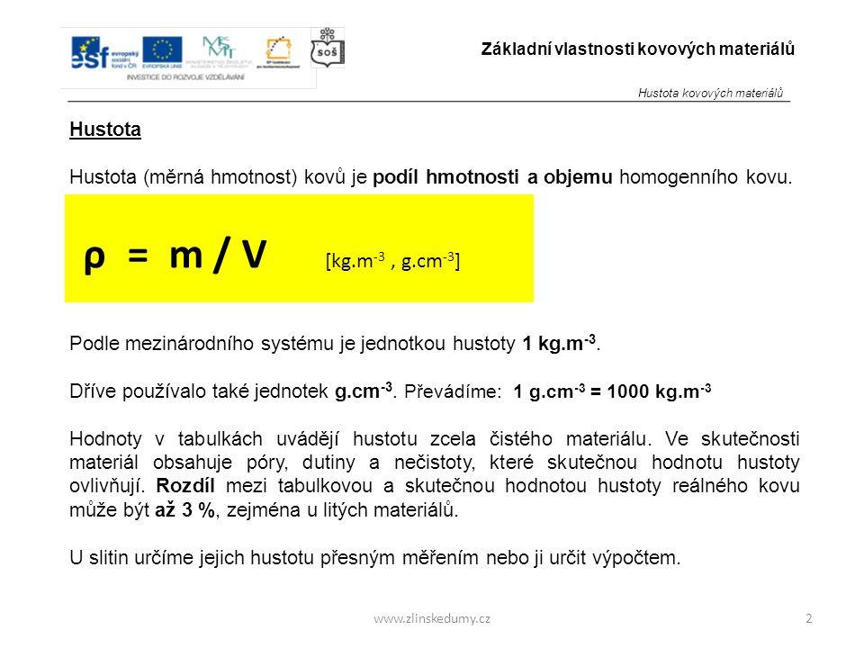 www.zlinskedumy.cz Hustota Hustota (měrná hmotnost) kovů je podíl hmotnosti a objemu homogenního kovu. Podle mezinárodního systému je jednotkou hustot