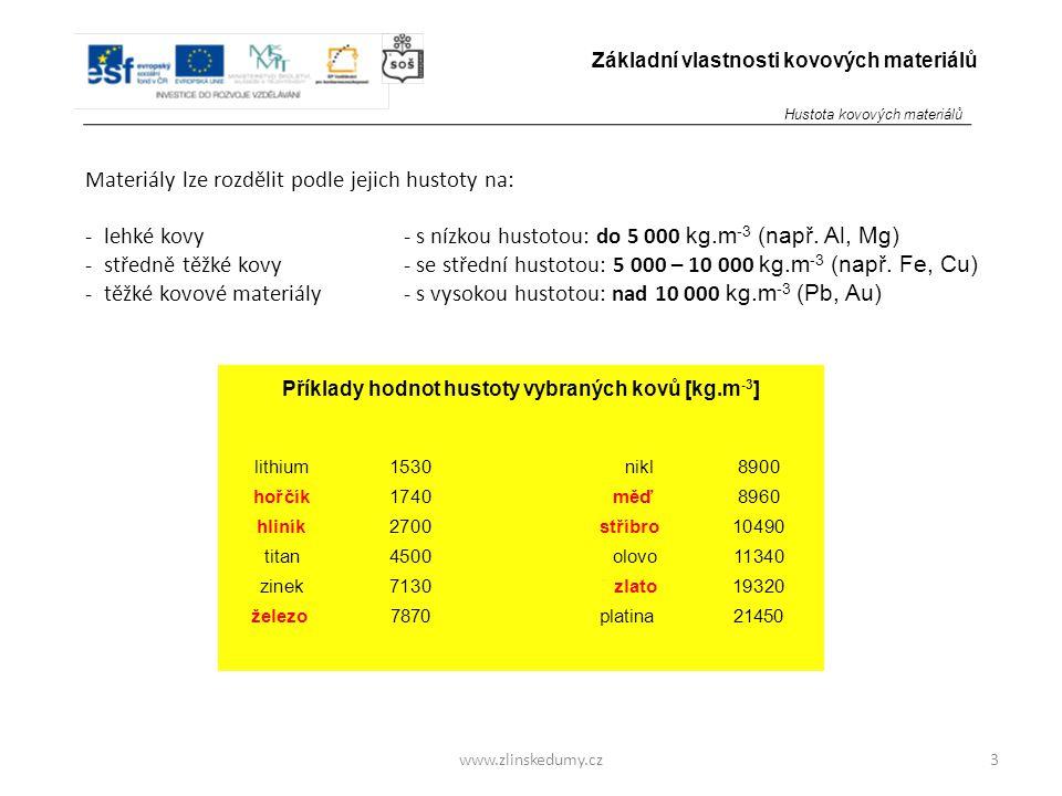 www.zlinskedumy.cz Materiály lze rozdělit podle jejich hustoty na: - lehké kovy- s nízkou hustotou: do 5 000 kg.m -3 (např. Al, Mg) - středně těžké ko