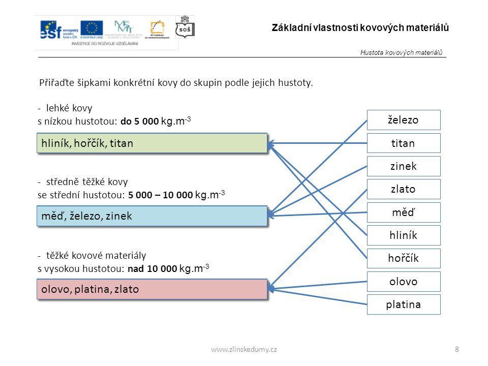 www.zlinskedumy.cz Přiřaďte šipkami konkrétní kovy do skupin podle jejich hustoty. 8 Základní vlastnosti kovových materiálů - lehké kovy s nízkou hust