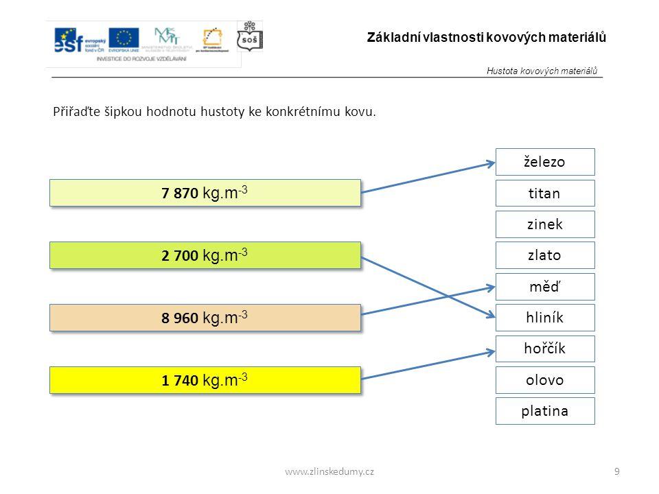 www.zlinskedumy.cz Přiřaďte šipkou hodnotu hustoty ke konkrétnímu kovu. 9 Základní vlastnosti kovových materiálů 7 870 kg.m -3 2 700 kg.m -3 8 960 kg.
