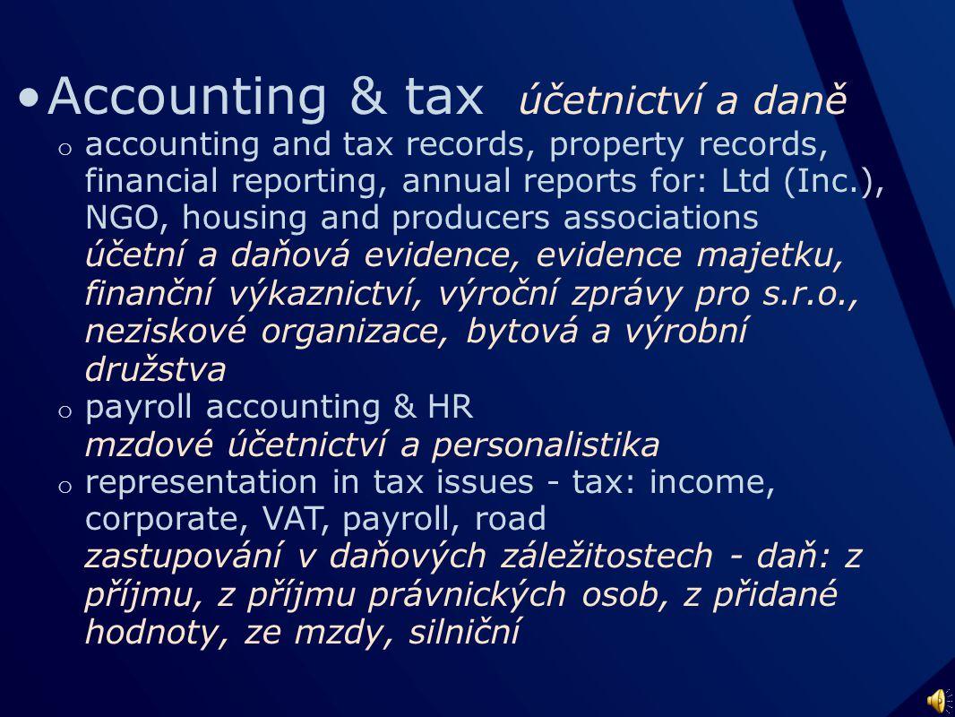 A ccounting M oney A dministration J ob A ctivity účetnicví - daně - finance