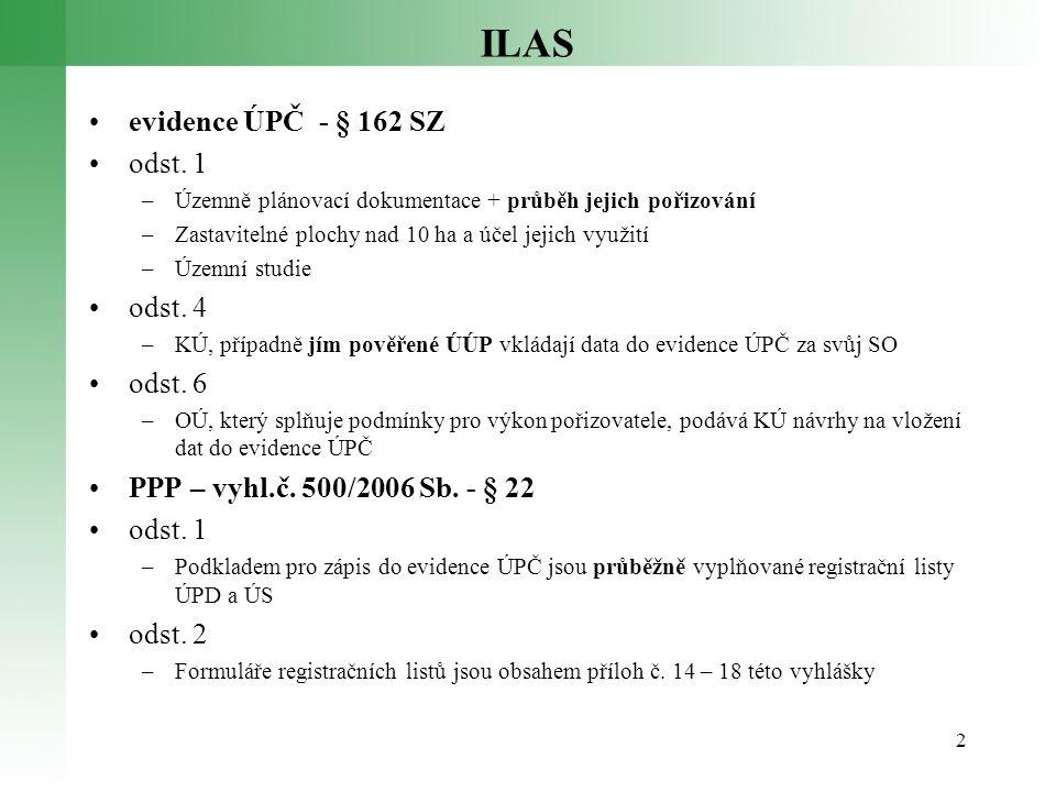 ILAS •evidence ÚPČ - § 162 SZ •odst. 1 –Územně plánovací dokumentace + průběh jejich pořizování –Zastavitelné plochy nad 10 ha a účel jejich využití –