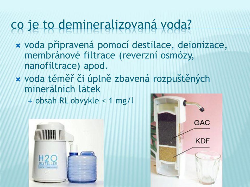 voda připravená pomocí destilace, deionizace, membránové filtrace (reverzní osmózy, nanofiltrace) apod.  voda téměř či úplně zbavená rozpuštěných m