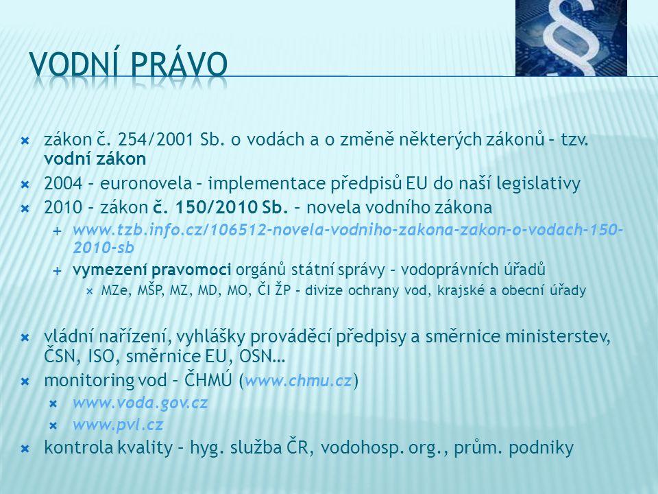  zákon č. 254/2001 Sb. o vodách a o změně některých zákonů – tzv. vodní zákon  2004 – euronovela – implementace předpisů EU do naší legislativy  20