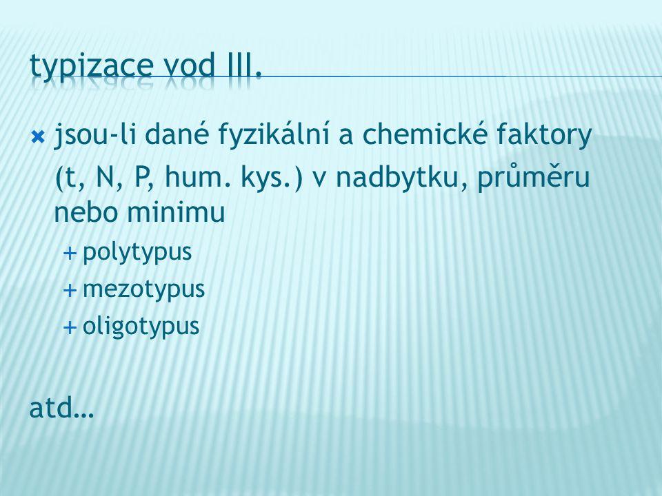  jsou-li dané fyzikální a chemické faktory (t, N, P, hum. kys.) v nadbytku, průměru nebo minimu  polytypus  mezotypus  oligotypus atd…