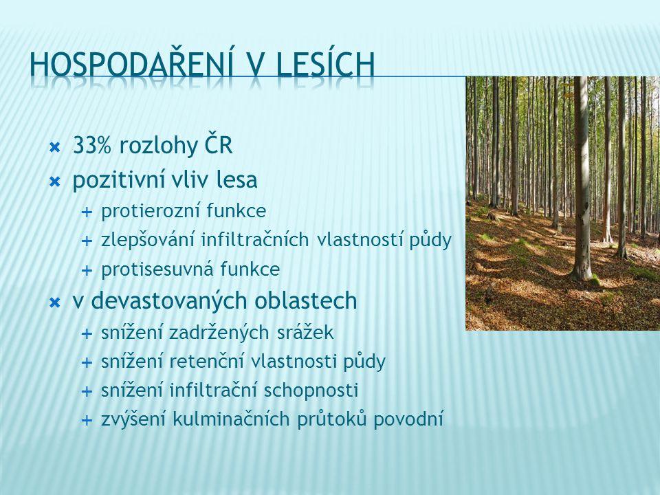  33% rozlohy ČR  pozitivní vliv lesa  protierozní funkce  zlepšování infiltračních vlastností půdy  protisesuvná funkce  v devastovaných oblastech  snížení zadržených srážek  snížení retenční vlastnosti půdy  snížení infiltrační schopnosti  zvýšení kulminačních průtoků povodní