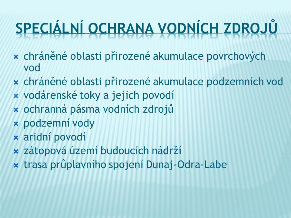  chráněné oblasti přirozené akumulace povrchových vod  chráněné oblasti přirozené akumulace podzemních vod  vodárenské toky a jejich povodí  ochranná pásma vodních zdrojů  podzemní vody  aridní povodí  zátopová území budoucích nádrží  trasa průplavního spojení Dunaj-Odra-Labe