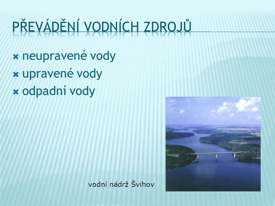  neupravené vody  upravené vody  odpadní vody vodní nádrž Švihov
