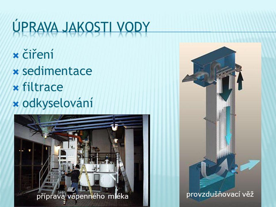  čiření  sedimentace  filtrace  odkyselování příprava vápenného mléka provzdušňovací věž