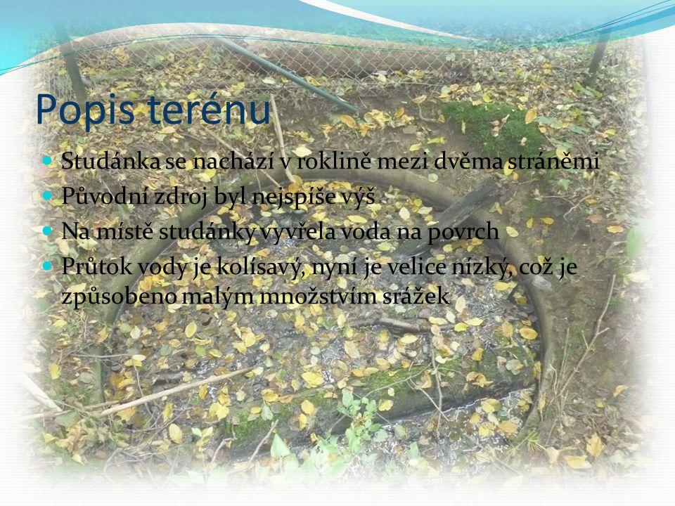 Popis terénu  Studánka se nachází v roklině mezi dvěma stráněmi  Původní zdroj byl nejspíše výš  Na místě studánky vyvřela voda na povrch  Průtok vody je kolísavý, nyní je velice nízký, což je způsobeno malým množstvím srážek