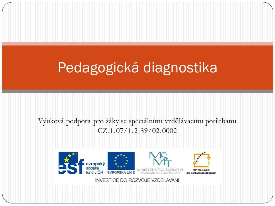 Pojmy  Pedagogická diagnostika  V ě decká disciplína, která se zabývá otázkami hodnocení úrovn ě výchovn ě -vzd ě lávacího procesu, jeho podmínkám a výsledky.