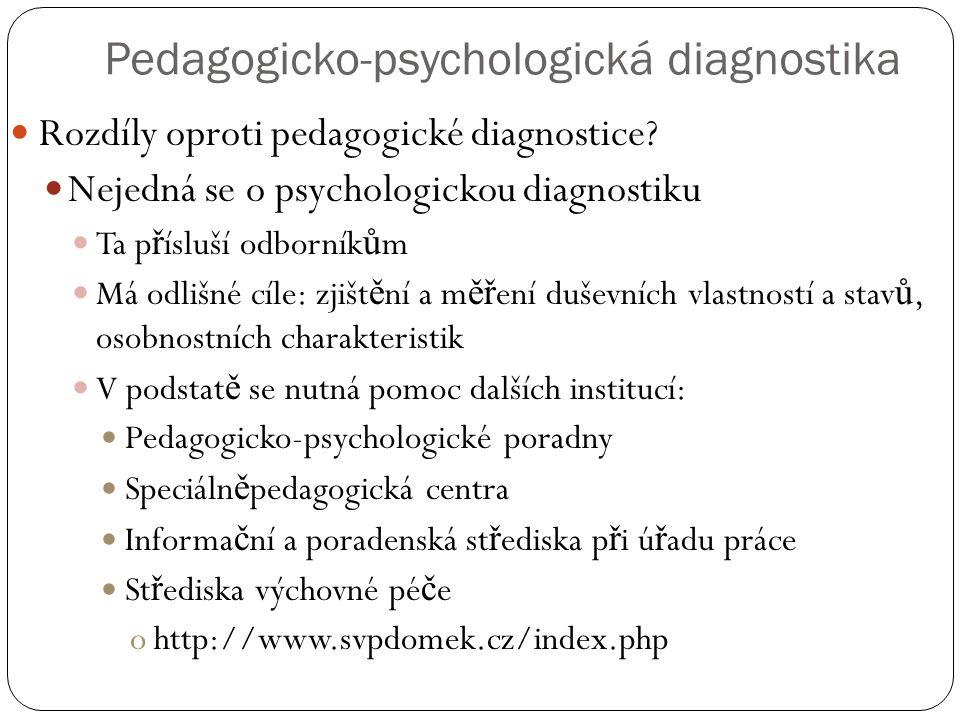 Pedagogicko-psychologická diagnostika  Rozdíly oproti pedagogické diagnostice?  Nejedná se o psychologickou diagnostiku  Ta p ř ísluší odborník ů m