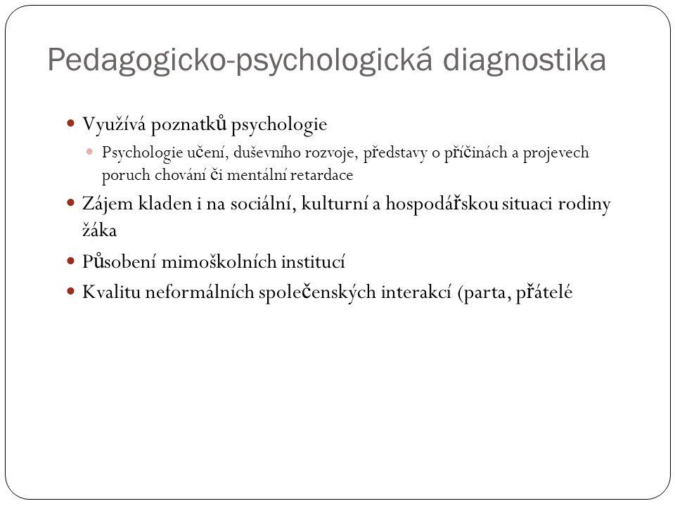 Pedagogicko-psychologická diagnostika  Využívá poznatk ů psychologie  Psychologie u č ení, duševního rozvoje, p ř edstavy o p ř í č inách a projevec
