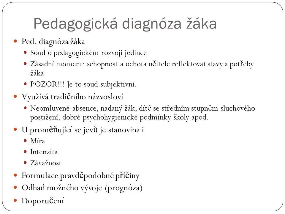 Pedagogická diagnóza žáka  Ped. diagnóza žáka  Soud o pedagogickém rozvoji jedince  Zásadní moment: schopnost a ochota u č itele reflektovat stavy