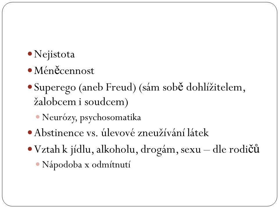  Nejistota  Mén ě cennost  Superego (aneb Freud) (sám sob ě dohlížitelem, žalobcem i soudcem)  Neurózy, psychosomatika  Abstinence vs. úlevové zn