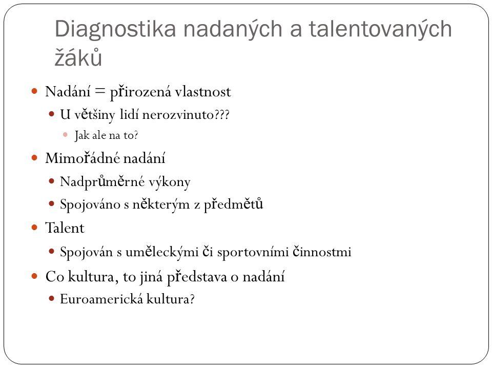 Diagnostika nadaných a talentovaných žáků  Nadání = p ř irozená vlastnost  U v ě tšiny lidí nerozvinuto???  Jak ale na to?  Mimo ř ádné nadání  N