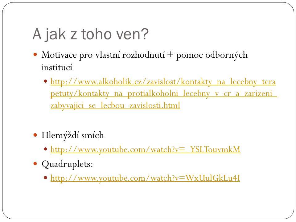 A jak z toho ven?  Motivace pro vlastní rozhodnutí + pomoc odborných institucí  http://www.alkoholik.cz/zavislost/kontakty_na_lecebny_tera petuty/ko