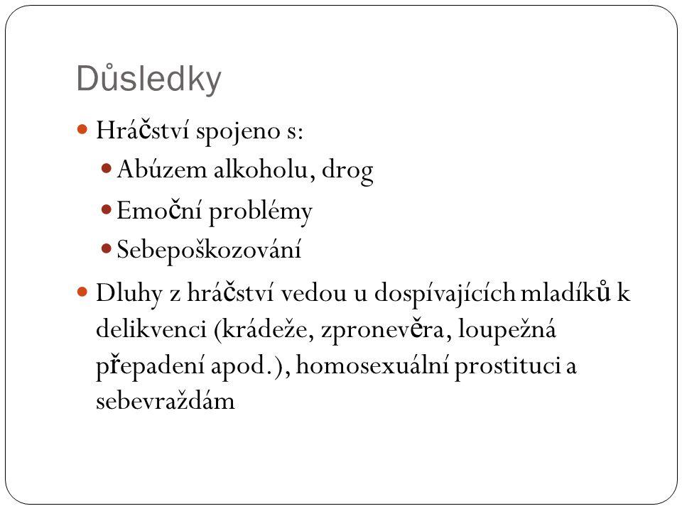 Důsledky  Hrá č ství spojeno s:  Abúzem alkoholu, drog  Emo č ní problémy  Sebepoškozování  Dluhy z hrá č ství vedou u dospívajících mladík ů k d