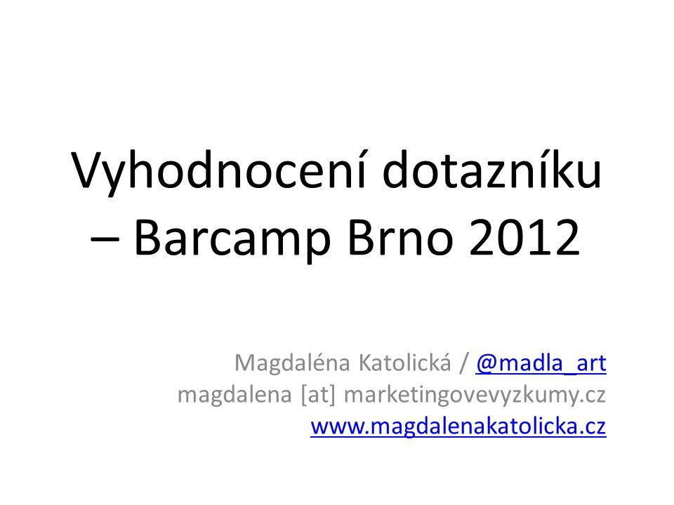 Vyhodnocení dotazníku – Barcamp Brno 2012 Magdaléna Katolická / @madla_art magdalena [at] marketingovevyzkumy.cz www.magdalenakatolicka.cz@madla_art www.magdalenakatolicka.cz