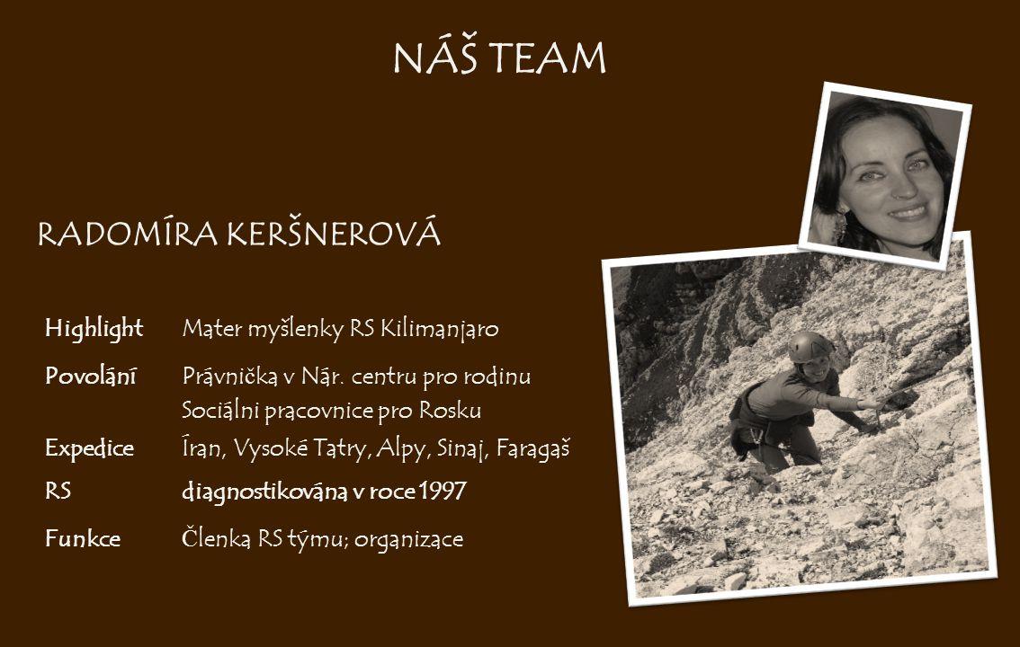 RADOMÍRA KERŠNEROVÁ HighlightMater myšlenky RS Kilimanjaro PovoláníPrávni č ka v Nár. centru pro rodinu Sociálni pracovnice pro Rosku ExpediceÍran, Vy