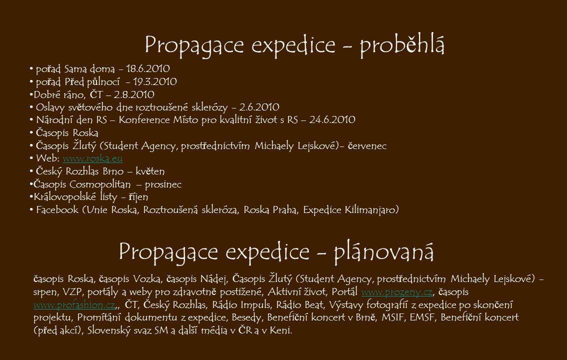Propagace expedice - prob ě hlá • po ř ad Sama doma - 18.6.2010 • po ř ad P ř ed p ů lnocí - 19.3.2010 • Dobré ráno, Č T – 2.8.2010 • Oslavy sv ě tové