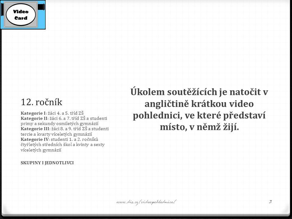 12. ročník Úkolem soutěžících je natočit v angličtině krátkou video pohlednici, ve které představí místo, v němž žijí. Kategorie I: žáci 4. a 5. t ř í