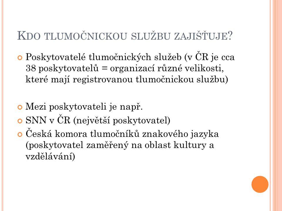 Č ESKÁ KOMORA TLUMOČNÍKŮ ZNAKOVÉHO JAZYKA (K OMORA ) =profesní organizace tlumočníků znakového jazyka (www.cktzj.com)www.cktzj.com Hlavní cíle Komory jsou: hájení zájmů tlumočníků znakového jazyka zvyšování úrovně profesionálního tlumočení, která je běžná na úrovni zemí EU vzdělávací činnost v oblasti tlumočení tlumočení při úředních i soudních jednáních tlumočení společenských a kulturních akcí Videovizitka Komory