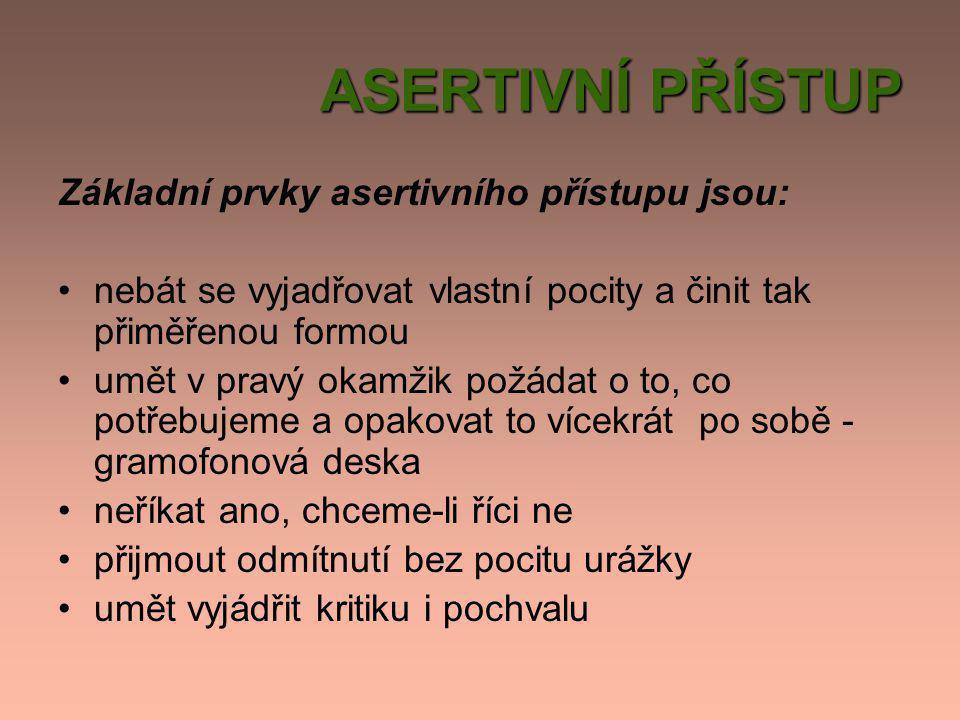 ASERTIVNÍ PŘÍSTUP Základní prvky asertivního přístupu jsou: •nebát se vyjadřovat vlastní pocity a činit tak přiměřenou formou •umět v pravý okamžik po