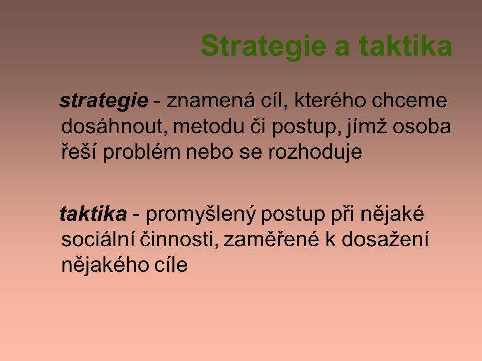 Strategie a taktika strategie - znamená cíl, kterého chceme dosáhnout, metodu či postup, jímž osoba řeší problém nebo se rozhoduje taktika - promyšlený postup při nějaké sociální činnosti, zaměřené k dosažení nějakého cíle