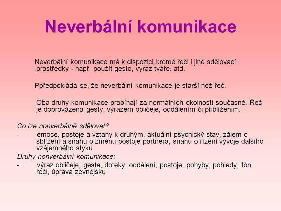 Neverbální komunikace Neverbální komunikace má k dispozici kromě řeči i jiné sdělovací prostředky - např. použít gesto, výraz tváře, atd. Ppředpokládá