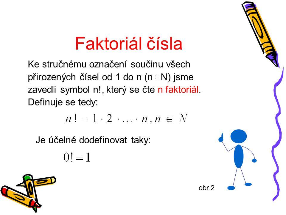 Faktoriál čísla Ke stručnému označení součinu všech přirozených čísel od 1 do n (n N) jsme zavedli symbol n!, který se čte n faktoriál. Definuje se te