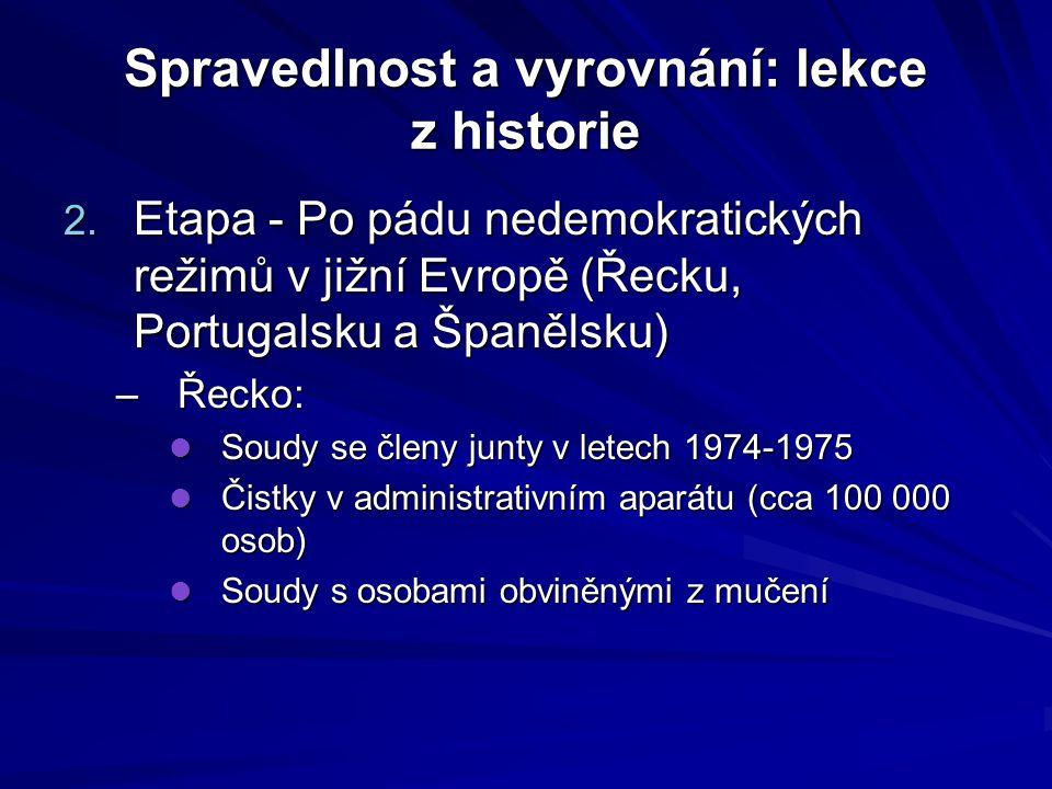 Spravedlnost a vyrovnání: lekce z historie Portugalsko: –Čistky v letech 1974-1975 → následně ale mnoho rozhodnutí bylo anulováno Španělsko: –V r.