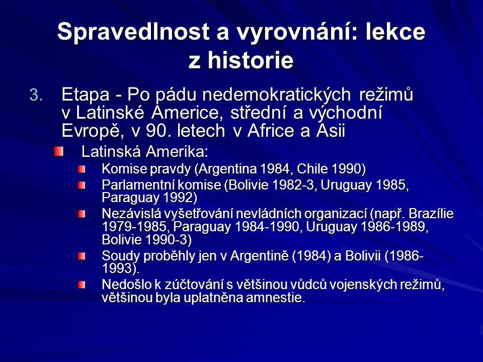 Spravedlnost a vyrovnání: lekce z historie 3. Etapa - Po pádu nedemokratických režimů v Latinské Americe, střední a východní Evropě, v 90. letech v Af