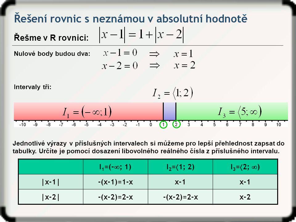 Řešení rovnic s neznámou v absolutní hodnotě Řešme v R rovnici: Nulové body budou dva: Intervaly tři: Jednotlivé výrazy v příslušných intervalech si m
